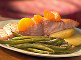Teriyaki Roasted Salmon with Oranges, Fingerling Potatoes and Haricots Verts