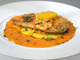 Orange Chicken Scaloppine and Sunburst Squash Escabeche with Roasted Pepper Puree