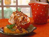 Ice Cream Stuffed Oranges with Caramel Sauce