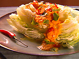 Iceberg Lettuce with Carrot Ginger Soy Dressing with Cilantro and Red Thai Chiles