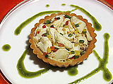 Tamale Tart with Roasted Garlic Custard and Gulf Crabmeat