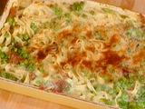 Tagliolini Gratinati con Piselli e Prosciutto:Gratineed Pasta with Peas and Prosciutto