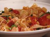 Tagliatelle with Bacon, Burst Cherry Tomatoes and Arugula