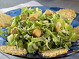Caesar Salad with Creamy Roasted Garlic Dressing and Parmesan Crisp