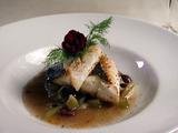 Pacific Halibut with Caramelized Fennel, Black Olives, Orange Zest, and Dill