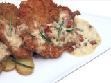 Pan Fried Chicken Thighs with Pancetta Cream over Confit Potatoes
