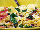 Farfalle with Pignole, Prosciutto, and Spinach