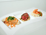 Beef Tenderloin with Parsnip Slaw and Thai Peanut Sauce
