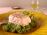 Halibut Poached in Olive Oil with Broccoli Rabe Pesto