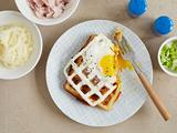 Ham and Cheese Waffles with an Egg
