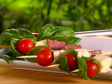 Salami, Mozzarella and Basil-Tomato Skewers
