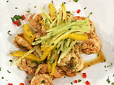 Sake Marinated Shrimp with a Cucumber and Mango Salad