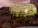 Grilled Flat Iron Steak with Pistachio Pesto Butter