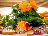 Sweet Pear and Gorgonzola Salad with Rocket, Watercress, Walnuts, and Orange Flower Honey