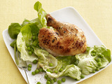 Tyler Florence's Roast Chicken with Wilted Butter Lettuce and Peas
