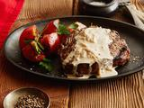 Rib Eye Steak with Onion Blue Cheese Sauce