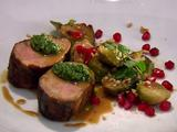 Spice Rubbed Pork Tenderloin with Roasted Brussels Sprouts, Jalapeno Pesto and Pomegranate