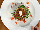 Vegetarian Chili Masa Cake Stacks