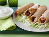 Chicken Flautas with Avocado Cream