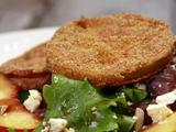 Fried Green Tomato Salad with Balsamic Vinaigrette Dressing