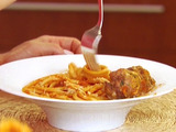 Bucatini All'Amatriciana with Spicy Smoked Mozzarella Meatballs