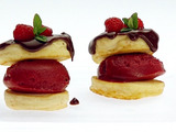 Mini Pancakes with Raspberry Sorbet and Chocolate Sauce