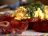 Spinach Pesto Scrambled Eggs on Garlic Brioche with Country Ham