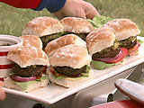 Black Pepper-Crusted Burgers with Mustard Sauce