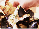 Steamed Mussels with Spicy Red Pepper Aioli
