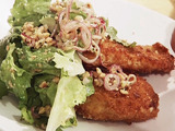 Chicken Milanese with Escarole Salad and Pickled Red Onions