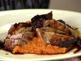 Brined Pork Porterhouse with Dried Fig Saba Sauce