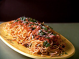Spaghetti with Olives and Tomato Sauce