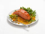 Salmon With Curried Lentils