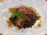 Cotechino with Warm Lentil Salad
