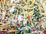 Penne Pasta with Vegetable Pearls