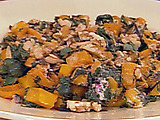 Roasted Butternut Squash with Beet Greens, Goat Cheese, Toasted Walnuts and Mint