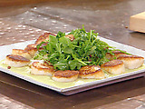 Seared Diver Scallops with Garlic, Bacon Wilted Arugula and Lima Bean Puree