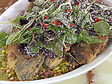 Pan-Fried Cornmeal Crusted Trout with Succotash and Mixed Baby Greens with a Buttermilk and Lemon Dressing