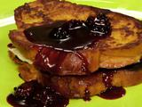 Pumpkin French Toast Stuffed with Blackberry-Caramel Mascarpone