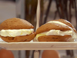 Gingerbread Whoopie Pies with Lemon-Molasses Swirled Fluffy Frosting