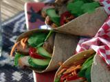 Banh-mi Wrap: Vietnamese Grilled Pork Wrap with Pickled Carrots and Mint