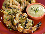 Sugarcane-Skewered Shrimp with Chile-Cilantro Rub
