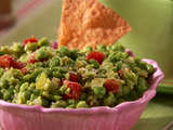 Roasted Chile Guacamole with Baked Tortilla Chips
