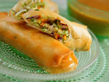 Shrimp Spring Rolls with Spicy Apricot Mustard Dip
