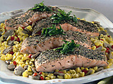 Herb Crusted Salmon with Sweet Corn and Mushrooms