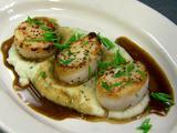 Seared Scallops, Polenta, Demi-Glace