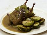 Andouille Cornbread Stuffed Quail, Red Eye Gravy
