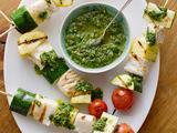 Fish Skewers with Basil Chimichurri