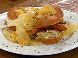 Seafood Slider Trio: Lobster and Bacon, Shrimp Remoulade, and Crab and Wasabi Sliders with Potato Chips