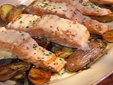 Grilled King Salmon with Pear Butter and Roasted Fingerling Potatoes